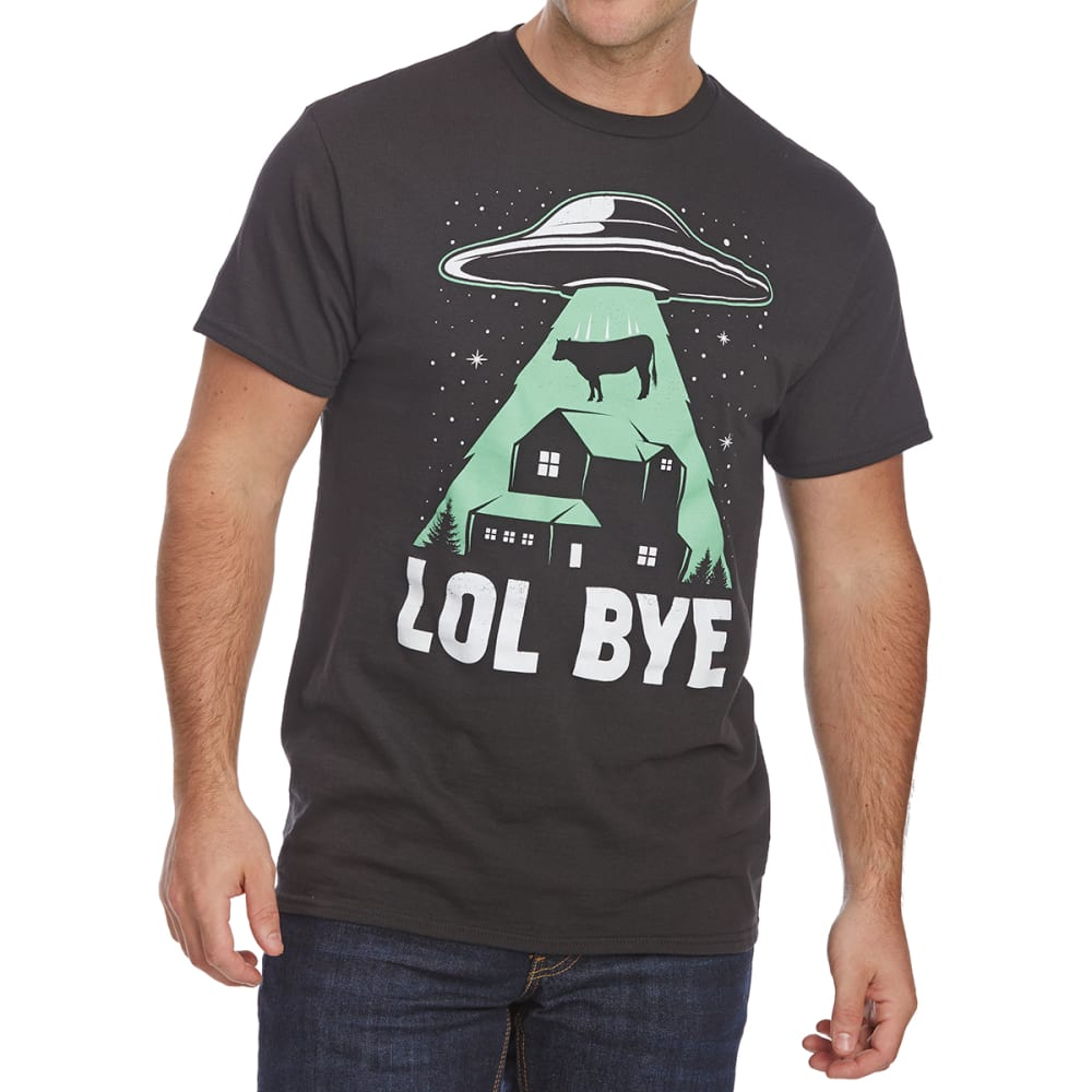 Fifth Sun Guys' Lol Bye Cow Abduction Short-Sleeve Graphic Tee - Black, M