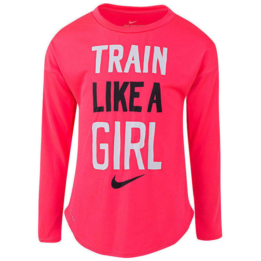 Nike Little Girls' Train Like A Girl Long-Sleeve Tee - Red, 4