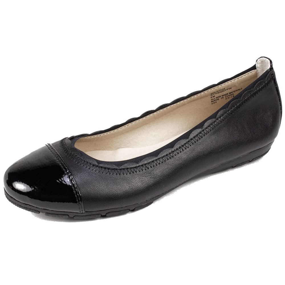 RIALTO Women's Griffin Flats - BLACK SMOOTH-005