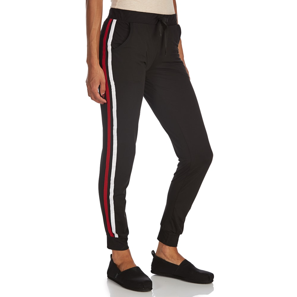 ALMOST FAMOUS Juniors' Double Athletic Stripe Peached Jogger Pants - BLACK/RED