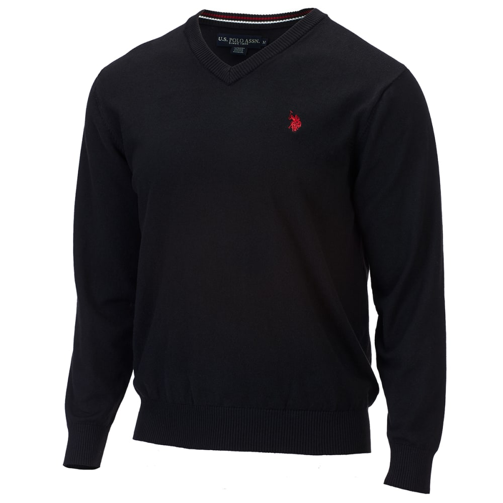 U.S. POLO ASSN. Men's Jersey Stretch V-Neck Sweater - BLACK