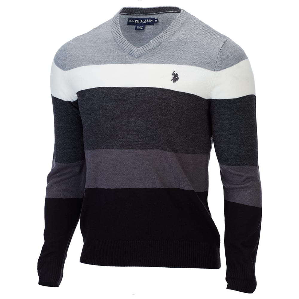 U.S. POLO ASSN. Men's Soft Stripe V-Neck Sweater - SILVER HEATHER