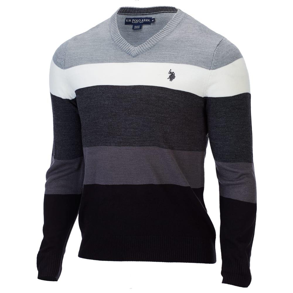 U.S. POLO ASSN. Men's Soft Stripe V-Neck Sweater - SILVER HEATHER