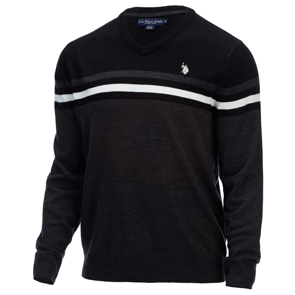 U.S. POLO ASSN. Men's Soft Stripe V-Neck Sweater - CHARCOAL HEATHER