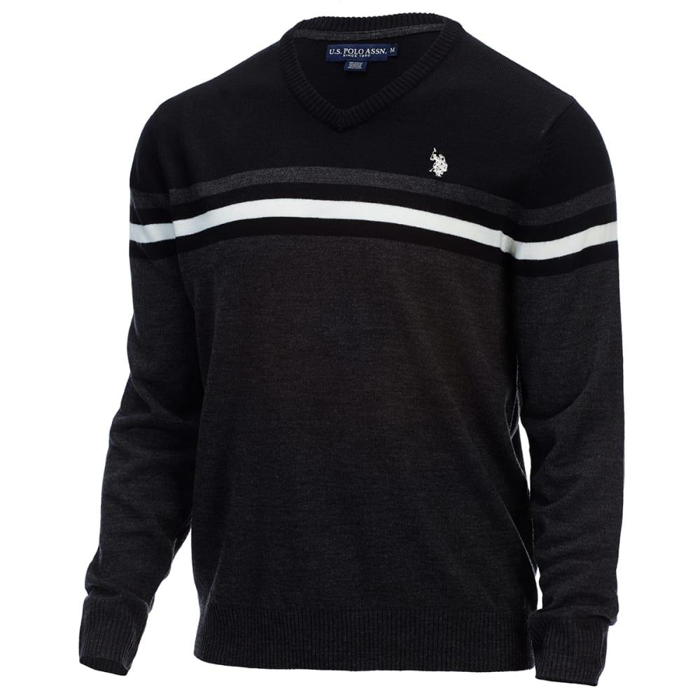 U.S. POLO ASSN. Men's Soft Stripe V-Neck Sweater - CHARCOAL HEATHER
