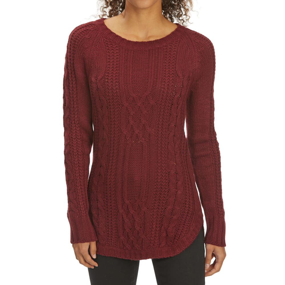 PINK ROSE Juniors' Cable Scoop-Neck Long-Sleeve Sweater - BORDEAUX BERRY