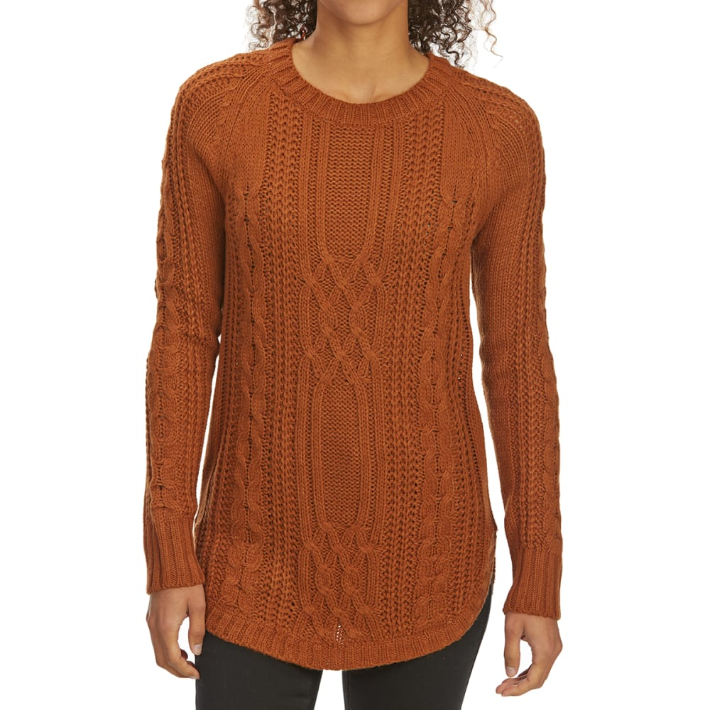 Pink Rose Juniors' Cable Scoop-Neck Long-Sleeve Sweater - Orange, S