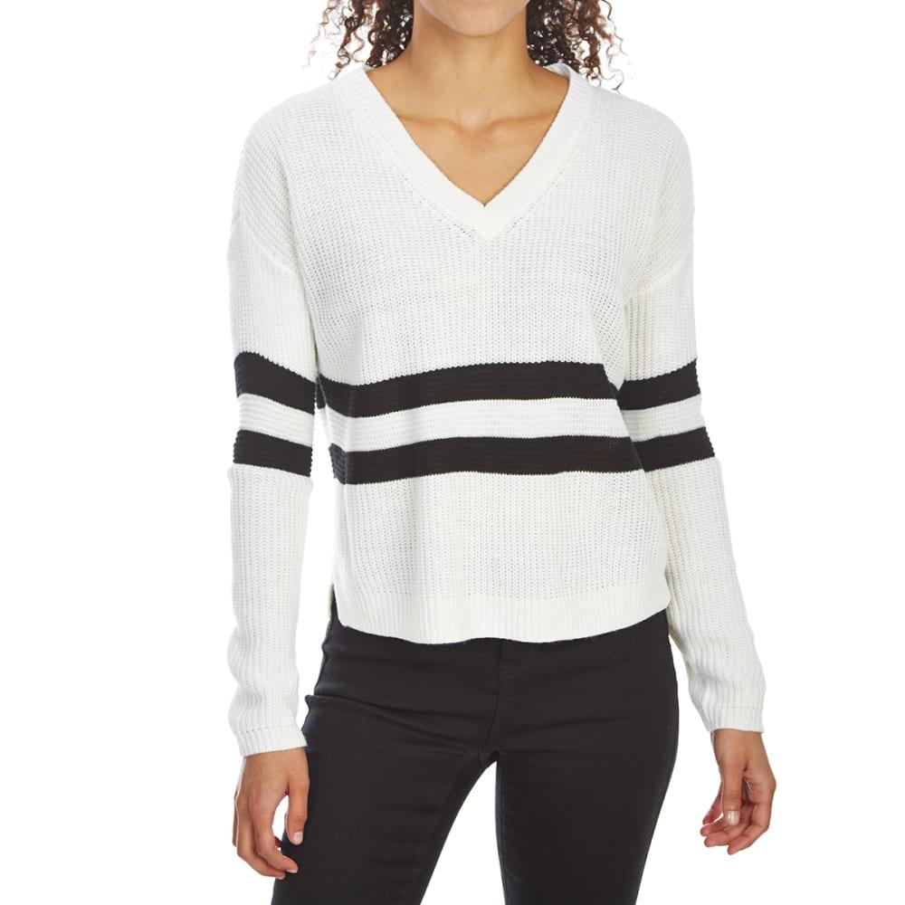 Pink Rose Juniors' Drop-Shoulder Striped V-Neck Sweater - White, S