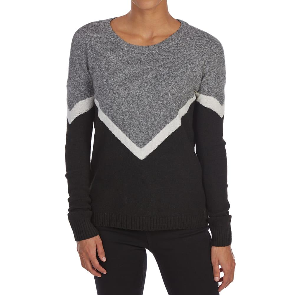 5f6b316519 Pink Rose Juniors  Color-Block Round-Neck Long-Sleeve Sweater Black Combo M