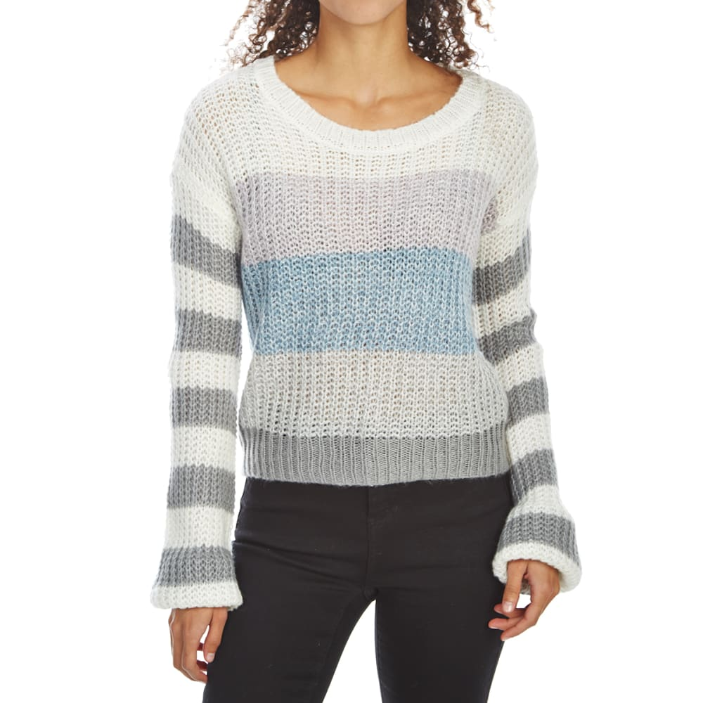 ALMOST FAMOUS Juniors' Soft Shaker Stripe Crewneck Sweater - GREY COMBO