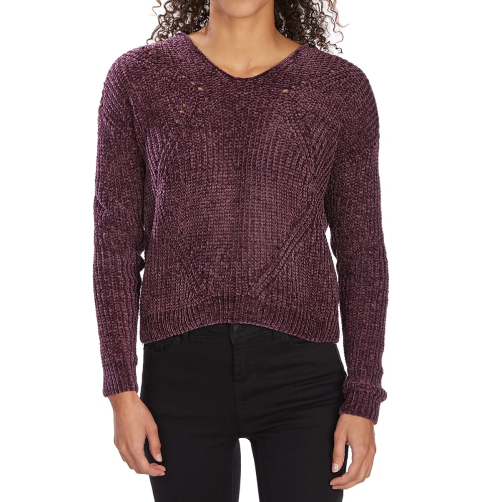 ALMOST FAMOUS Juniors' Pointelle Knit Chenille Pullover Hoodie - PLUM
