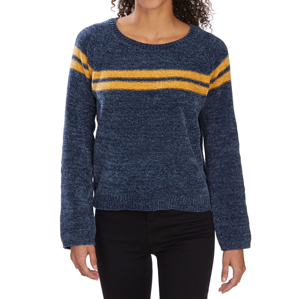 ALMOST FAMOUS Juniors' Chenille Chest Stripe Scoop-Neck Bell-Sleeve Sweater - NAVY COMBO