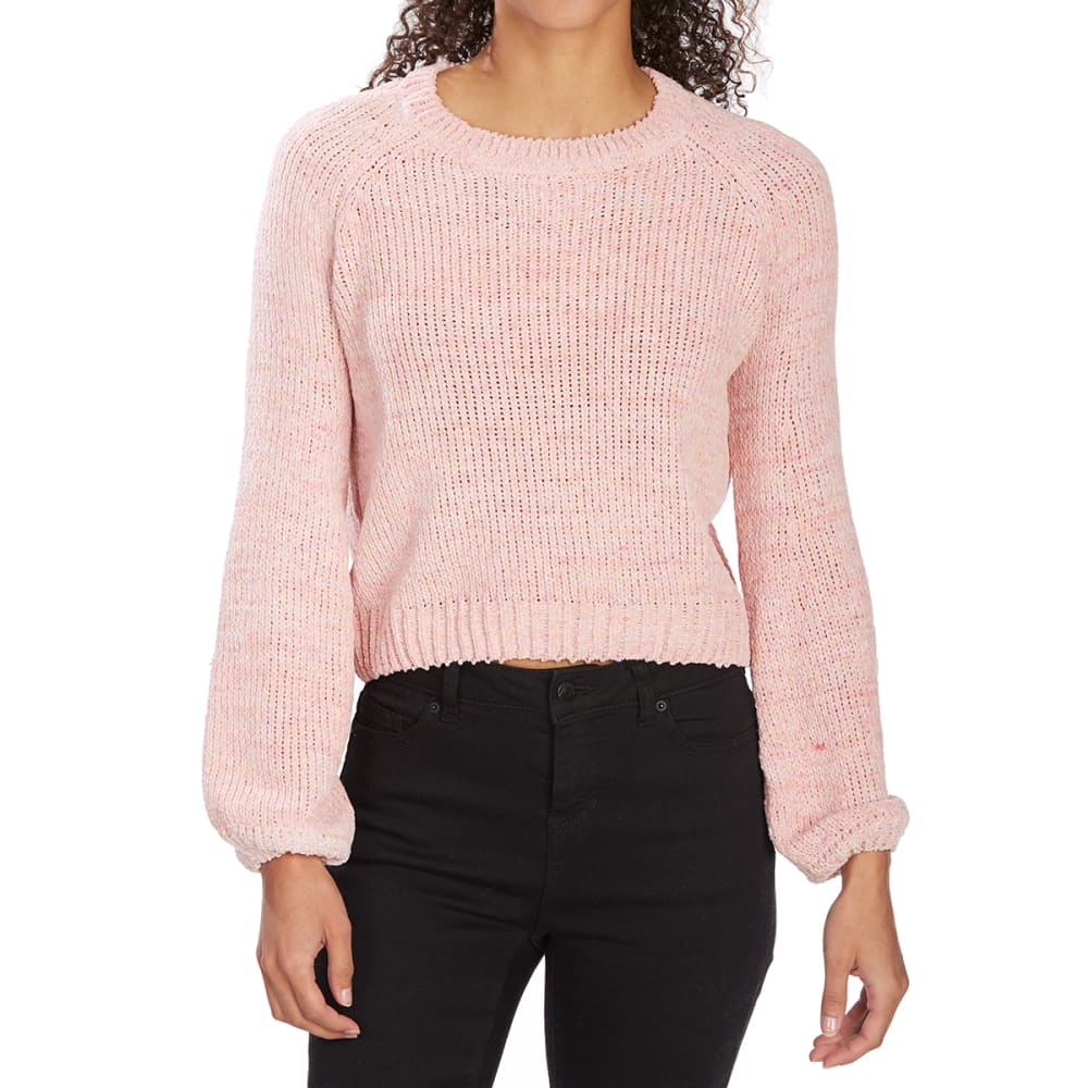 ALMOST FAMOUS Juniors' Space-Dye Chenille Knit Balloon Sleeve Crop Top - BLUSH COMBO