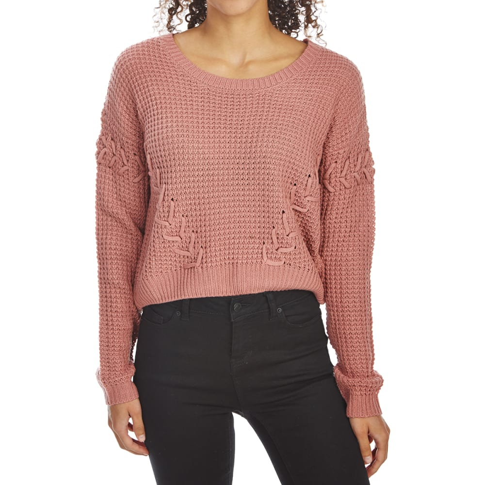 ALMOST FAMOUS Juniors' High-Low Lace-Up Sweater - DUSTY ROSE