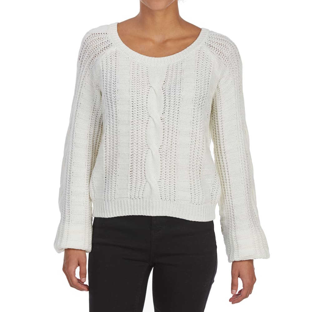 ALMOST FAMOUS Juniors' Cable Crew Long-Sleeve Crop Sweater - IVORY