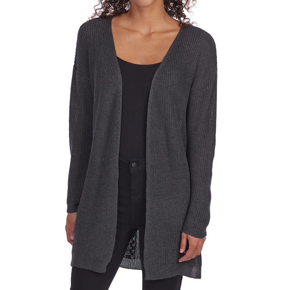 PINK ROSE Juniors' Cable Back Open-Front Cardigan - H CHARCOAL