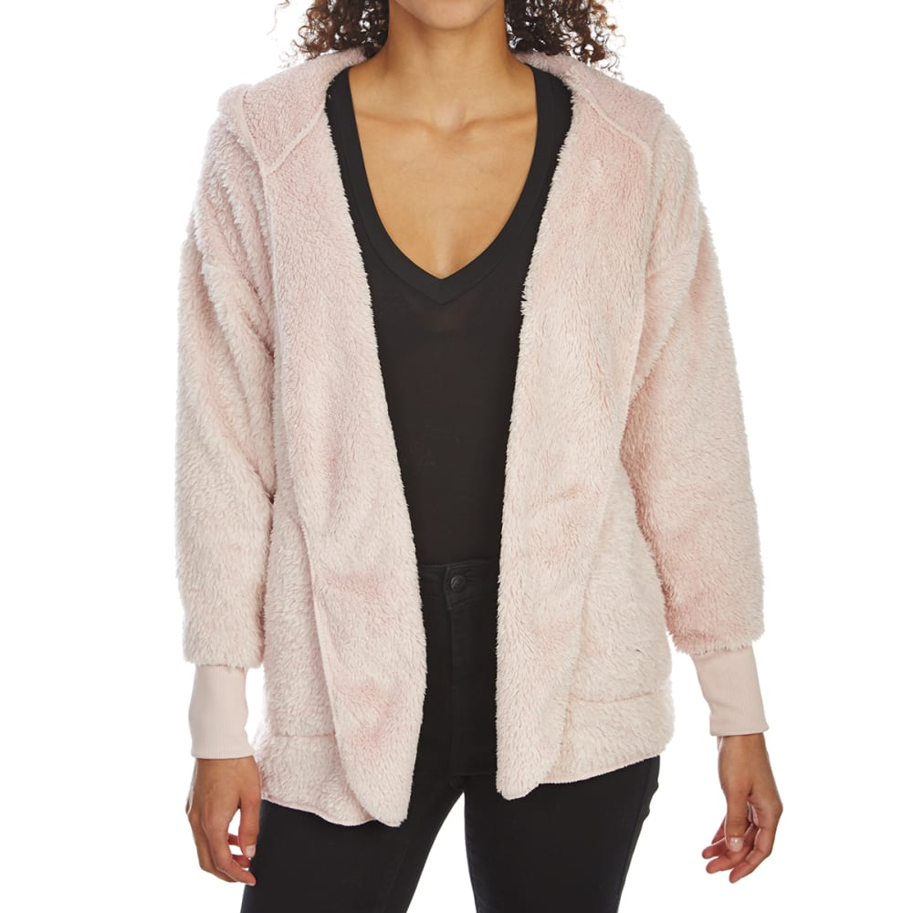 ALMOST FAMOUS Juniors' Sherpa Hooded Open Cardigan - BLUSH