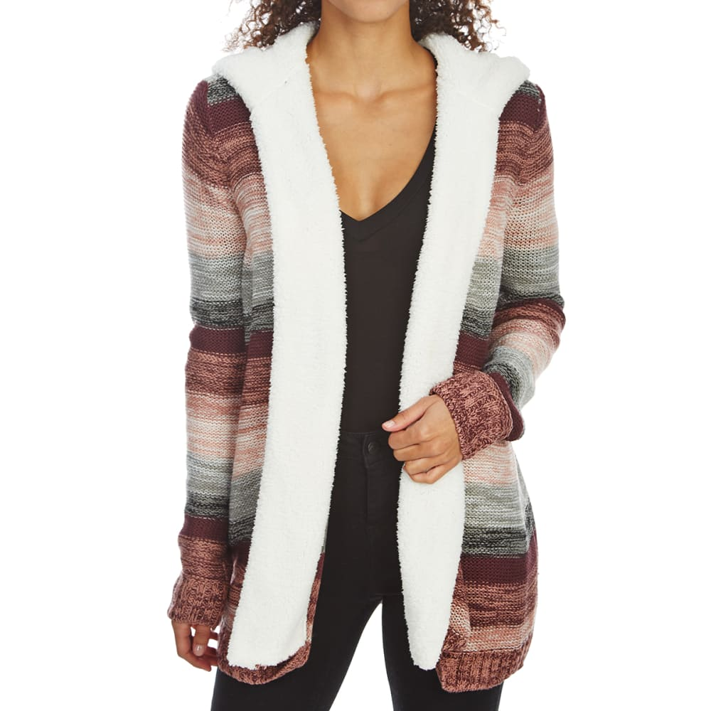 ALMOST FAMOUS Juniors' Marled Stripe Sherpa Hooded Open Cardigan - DUSTY ROSE COMBO