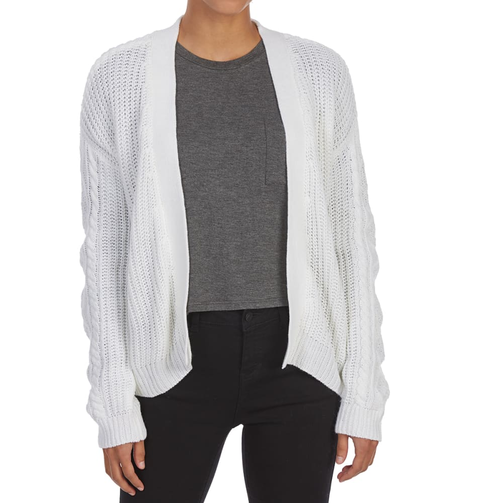ALMOST FAMOUS Juniors' Multi-Stitch Lace-Up Sides Short Cardigan - IVORY COMBO