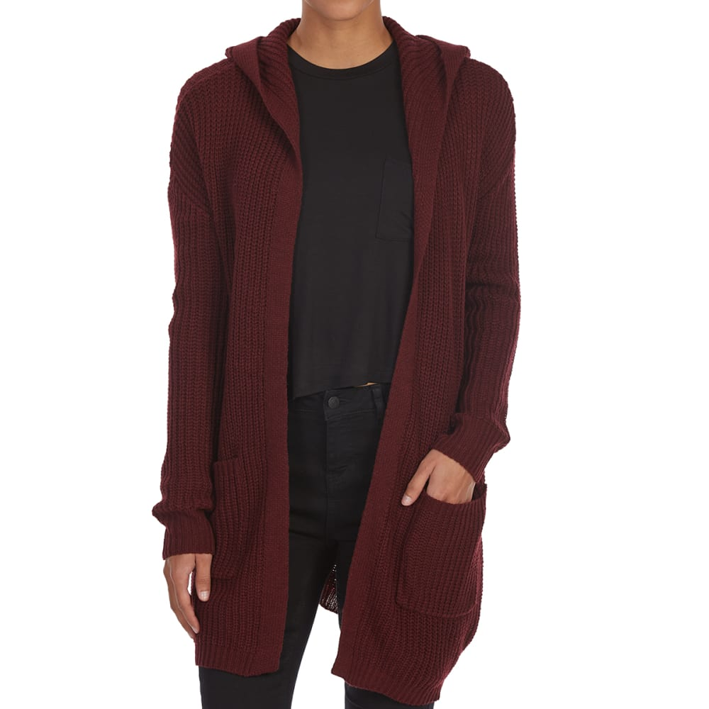 ALMOST FAMOUS Juniors' Lace-Up Hooded Cardigan - DARK MERLOT