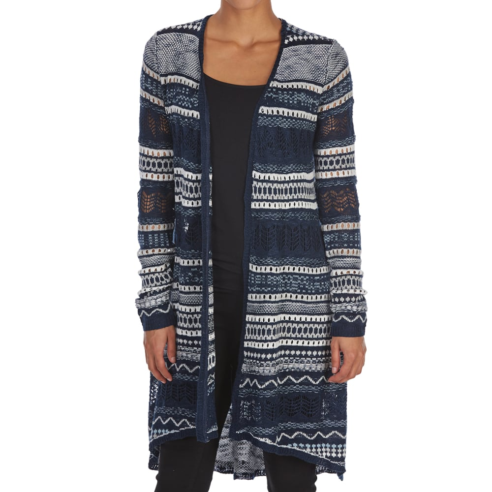 ALMOST FAMOUS Juniors' Slub Pointelle Tie-Back Striped High-Low Duster - NAVY COMBO
