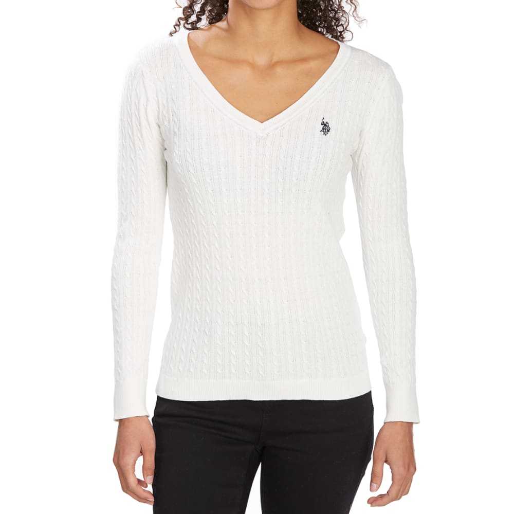 U.S. POLO ASSN. Women's Cable V-Neck Long-Sleeve Sweater - IVORY