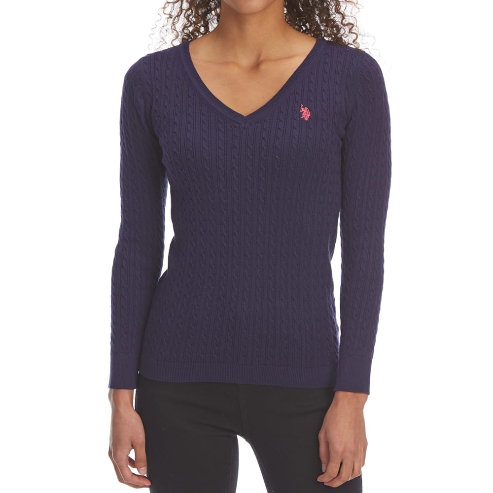 U.S. POLO ASSN. Women's Cable V-Neck Long-Sleeve Sweater S