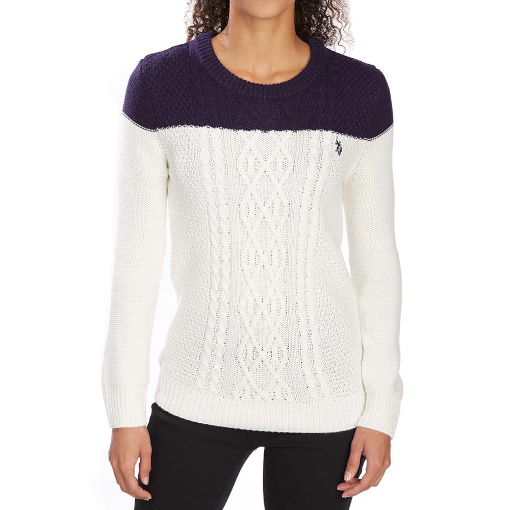 U.s. Polo Assn. Women's Contrast Yoke Cable Knit Crew Sweater - White, M
