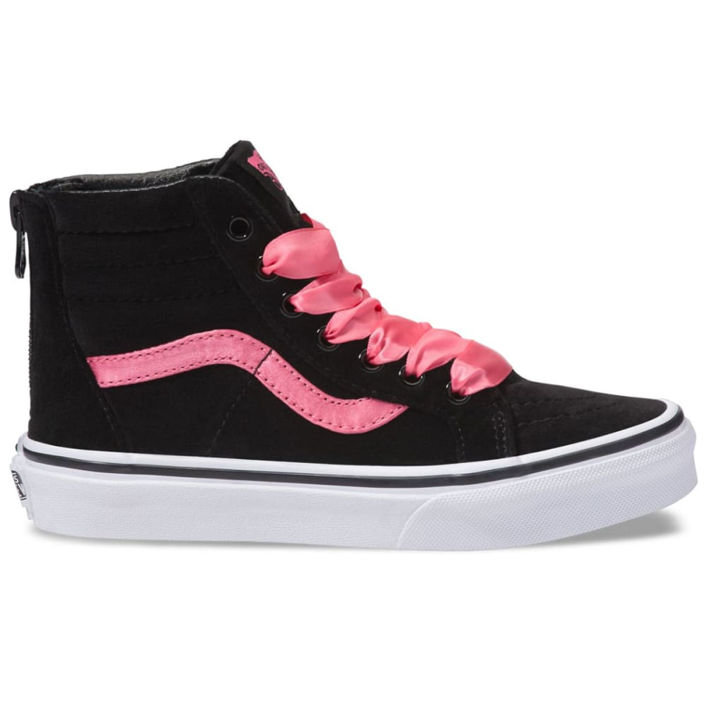 Vans Big Girls' Sk8-Hi Zip Satin Velvet Sneakers - Black, 1