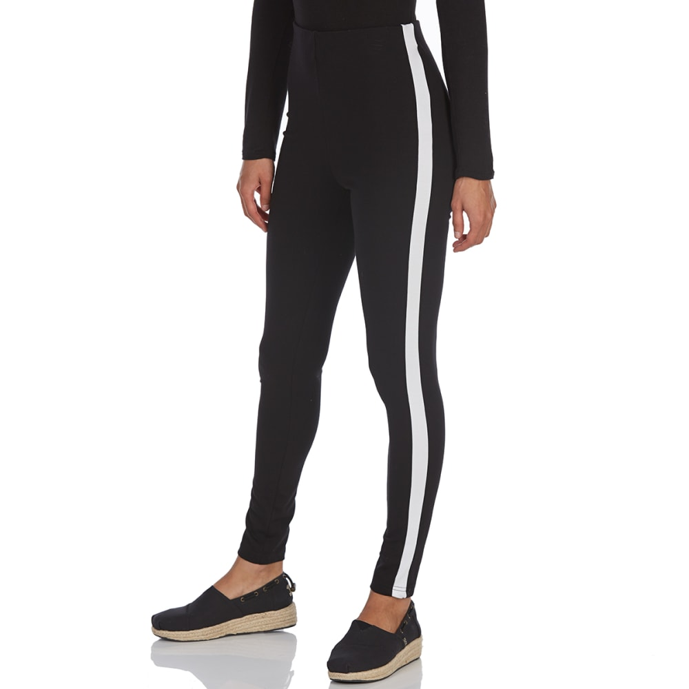 ALMOST FAMOUS Juniors' Side Stripe Ponte Leggings - BLACK