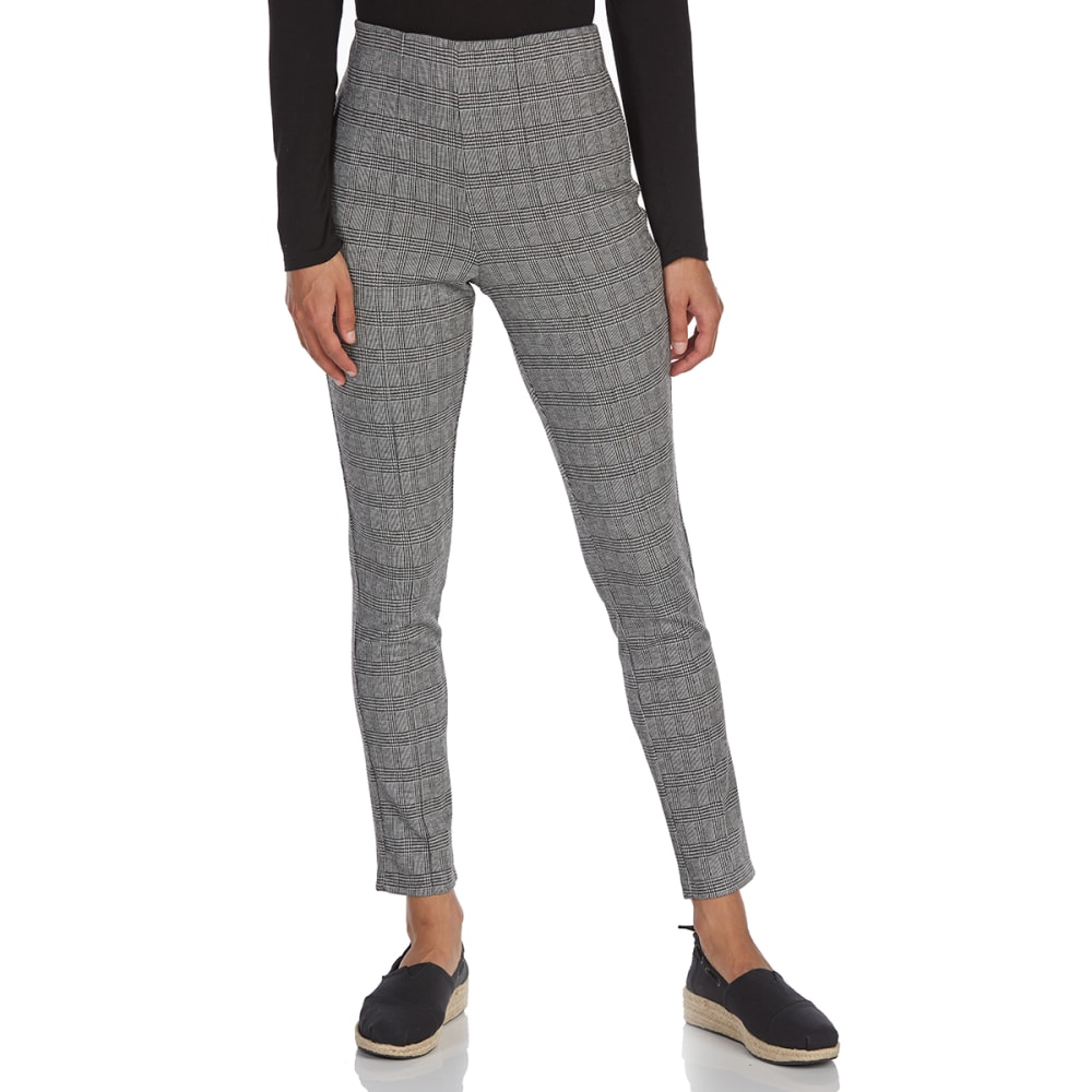 ALMOST FAMOUS Juniors' Plaid Ponte Leggings - BLACK/WHITE