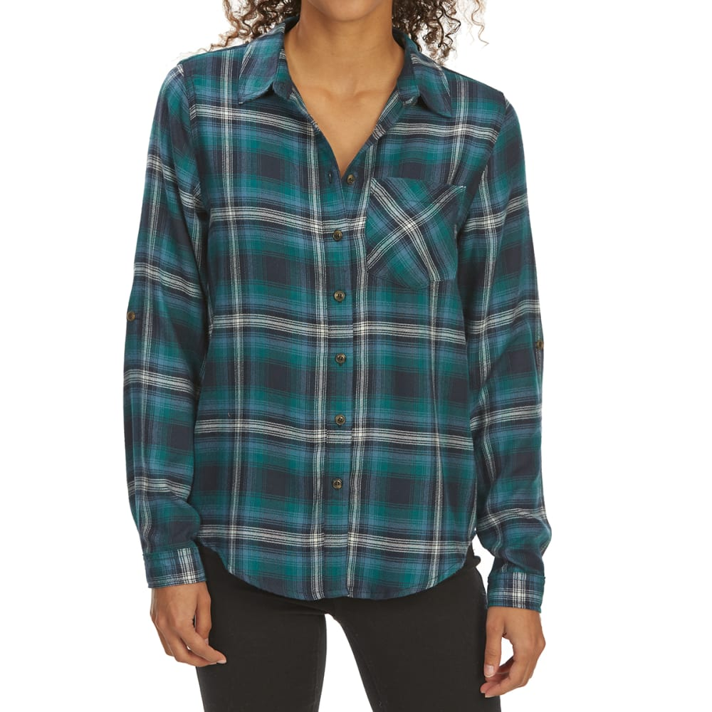 Pink Rose Juniors' Brushed Windowpane Plaid Long-Sleeve Flannel Shirt - Green, S