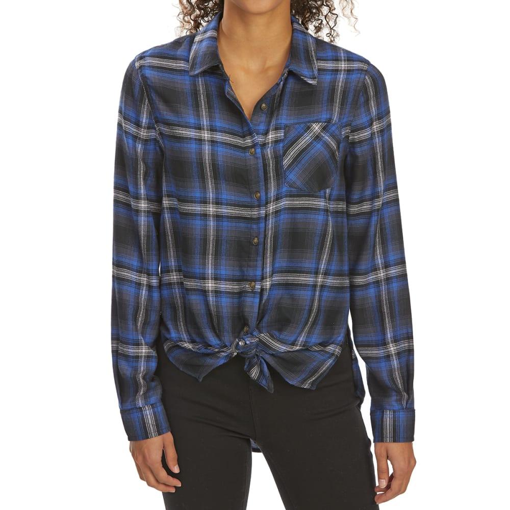 PINK ROSE Juniors' Tie-Front Brushed Plaid Long-Sleeve Flannel Shirt - BLACK/ROYAL