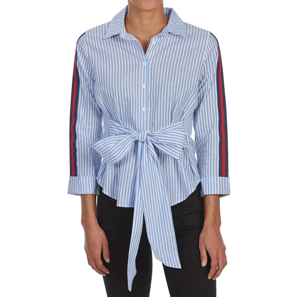 ALMOST FAMOUS Juniors' Varsity Trim Tie-Front Button-Up Long-Sleeve Top - BLUE/WHITE