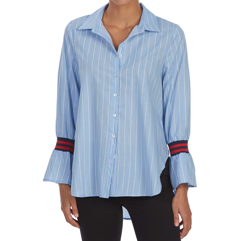 ALMOST FAMOUS Juniors' Varsity Trim Tie-Front Flounce-Sleeve Top - CHAMBRAY/WHITE