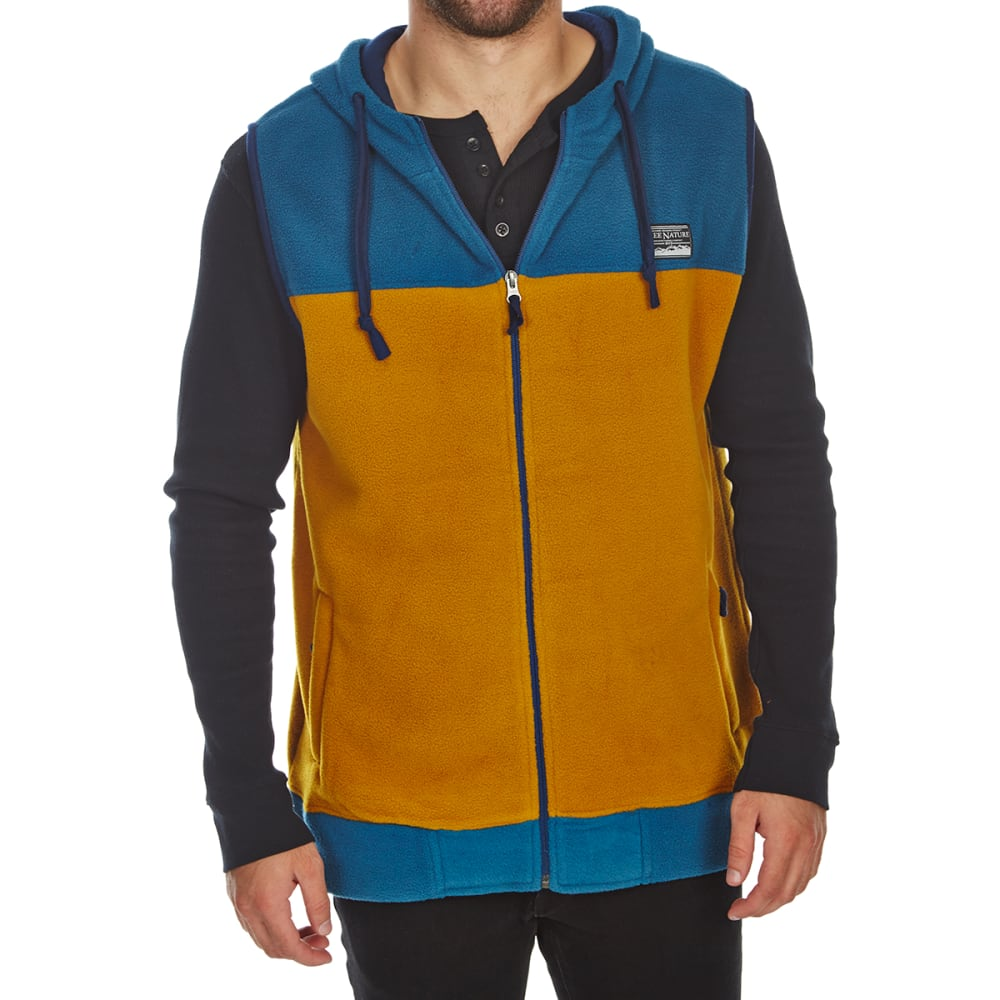 FREE NATURE Guys' Hooded Polar Fleece Zip-Up Vest - MALLARD BLUE