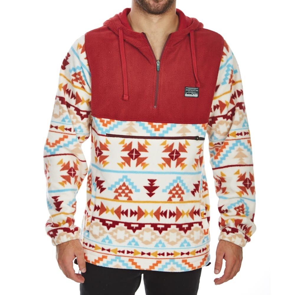 FREE NATURE Guys' 1/4 Zip Polar Fleece Hoodie - OXBLOOD