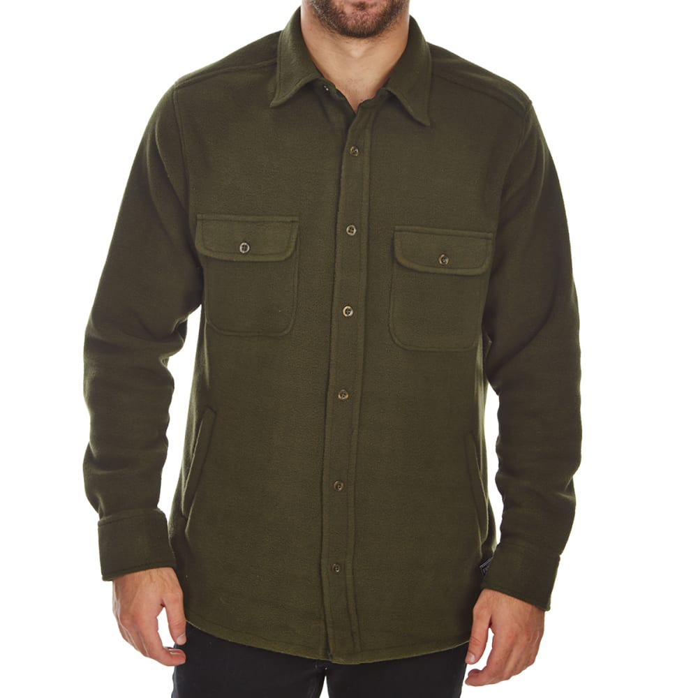 FREE NATURE Guys' Polar Fleece Shirt Jacket - DARK ARMY