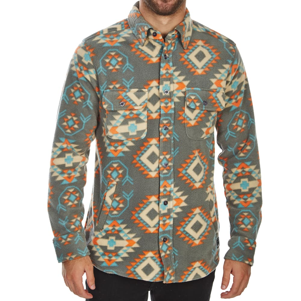 FREE NATURE Guys' Polar Fleece Shirt Jacket - CHARCOAL MULTI