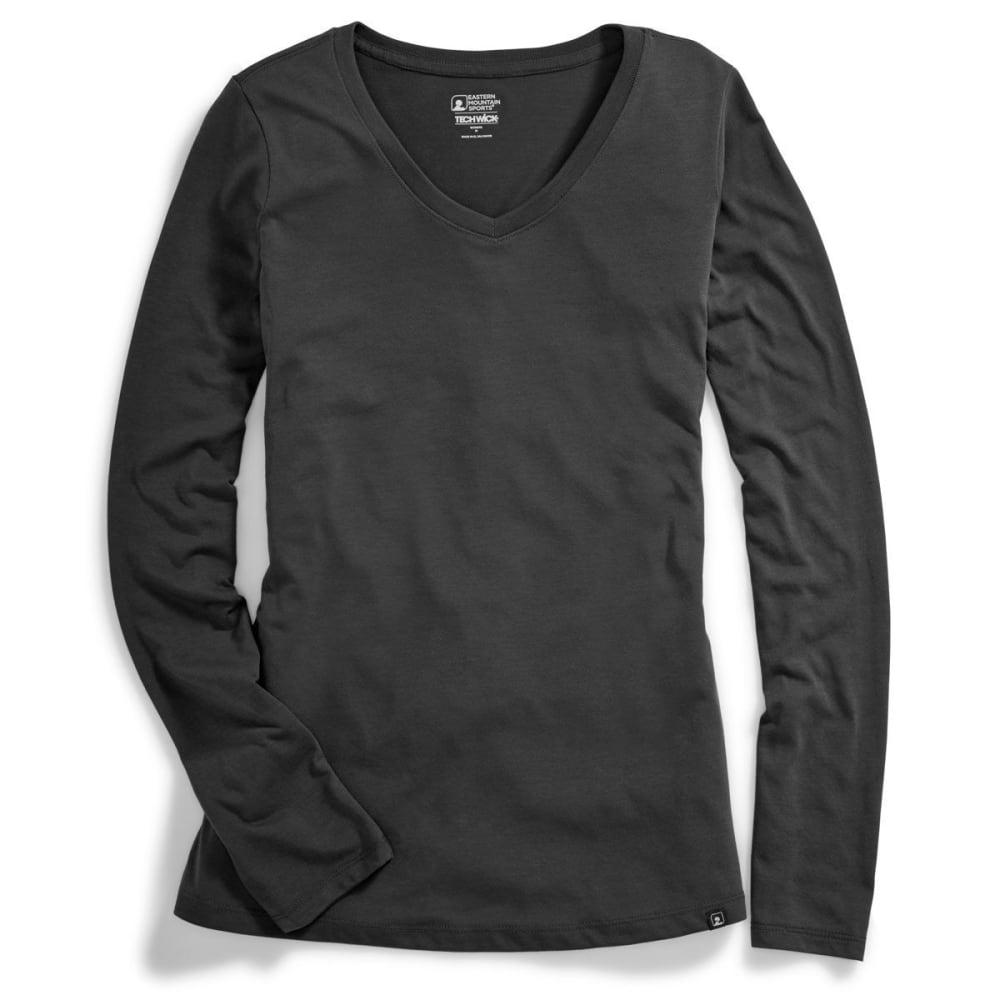 Ems(R) Women's Techwick(R) Vital V-Neck Long-Sleeve Tee - Black, XS