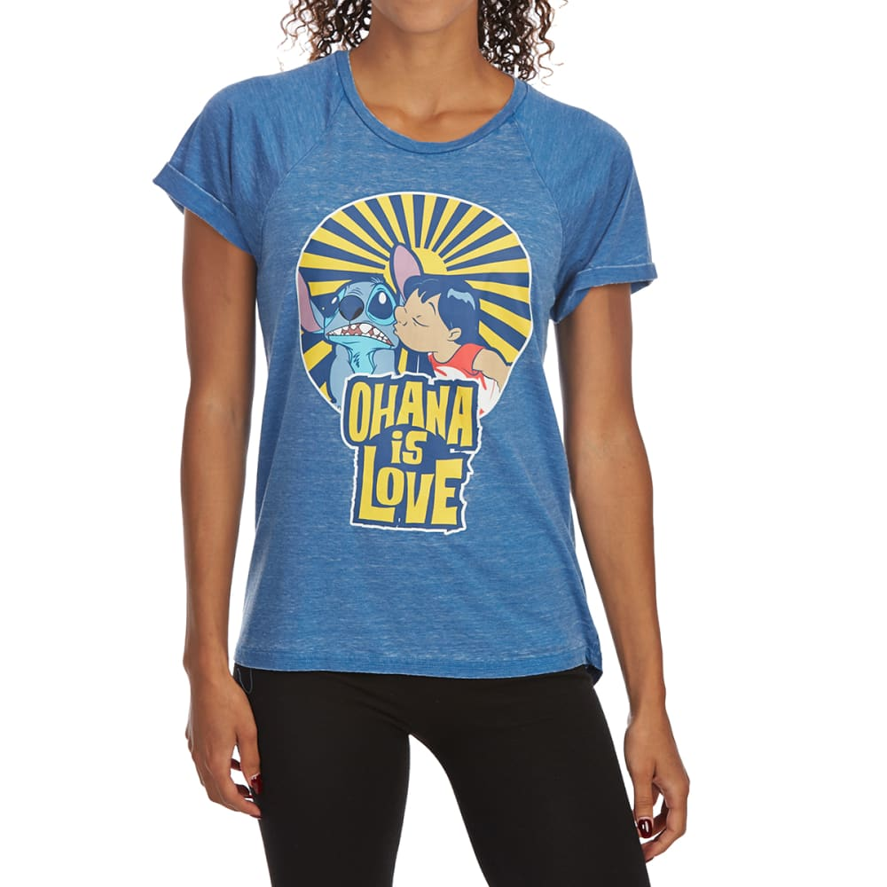 FREEZE Juniors' Love Roll-Cuff Raglan Short-Sleeve Tee - BLUE