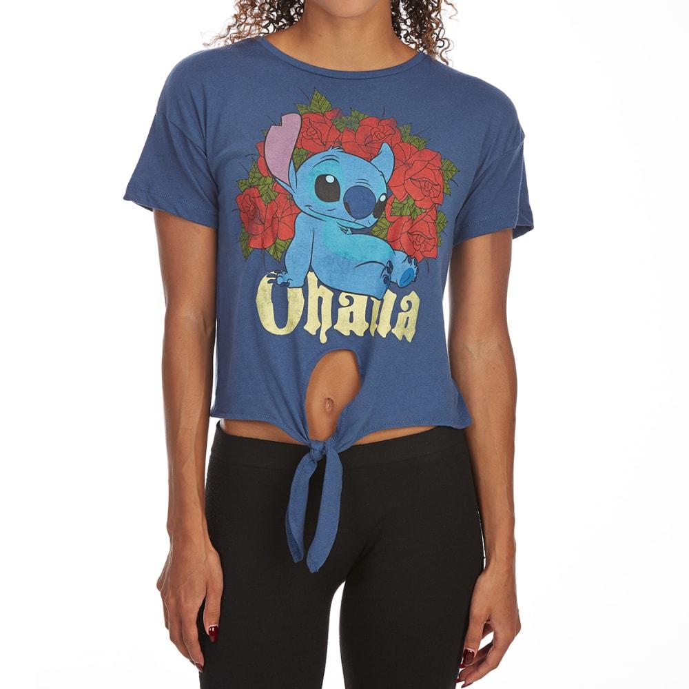 FREEZE Juniors' Ohana Tie-Front Short-Sleeve Tee - BLUE