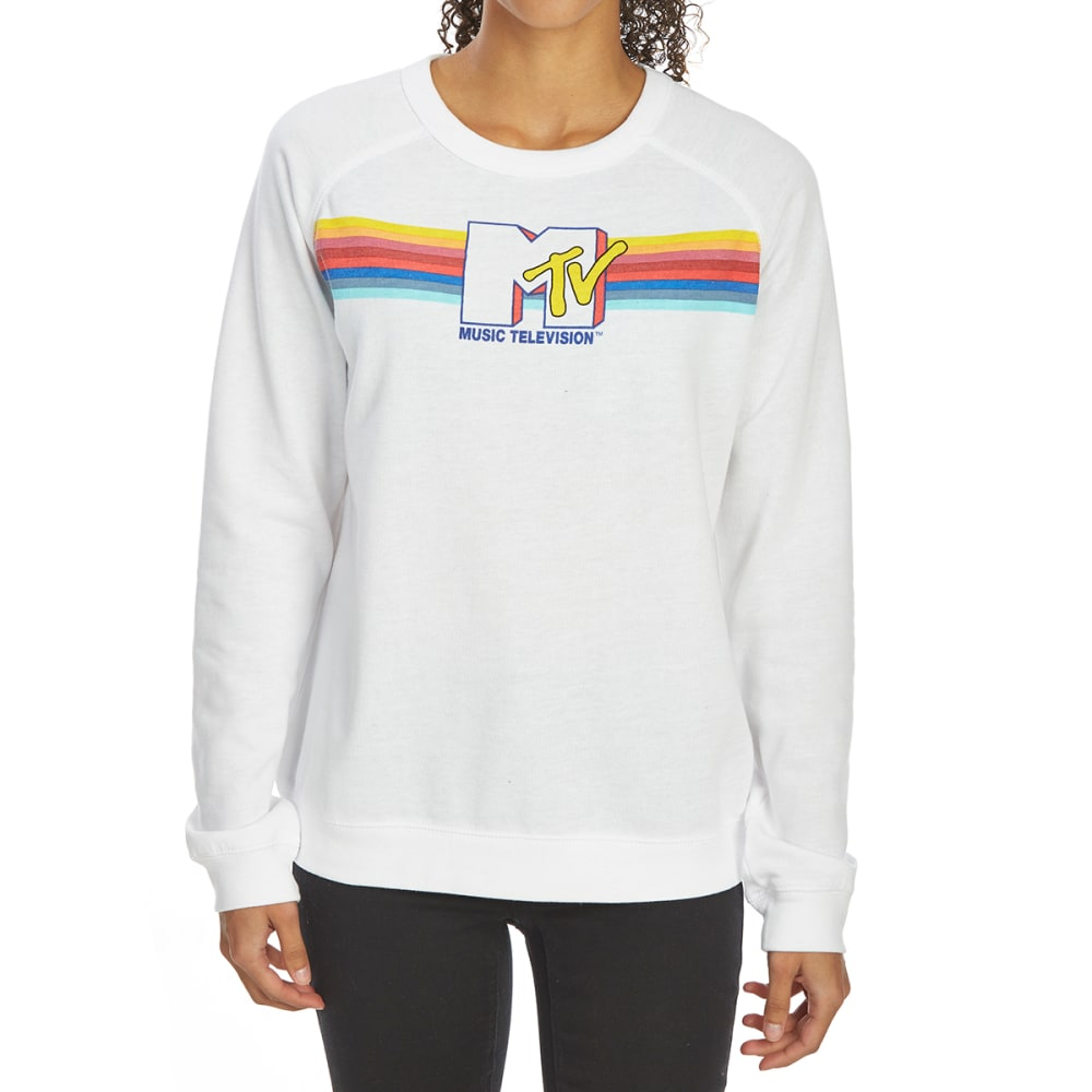 FREEZE Juniors' MTV Fleece Long-Sleeve Pullover - WHITE