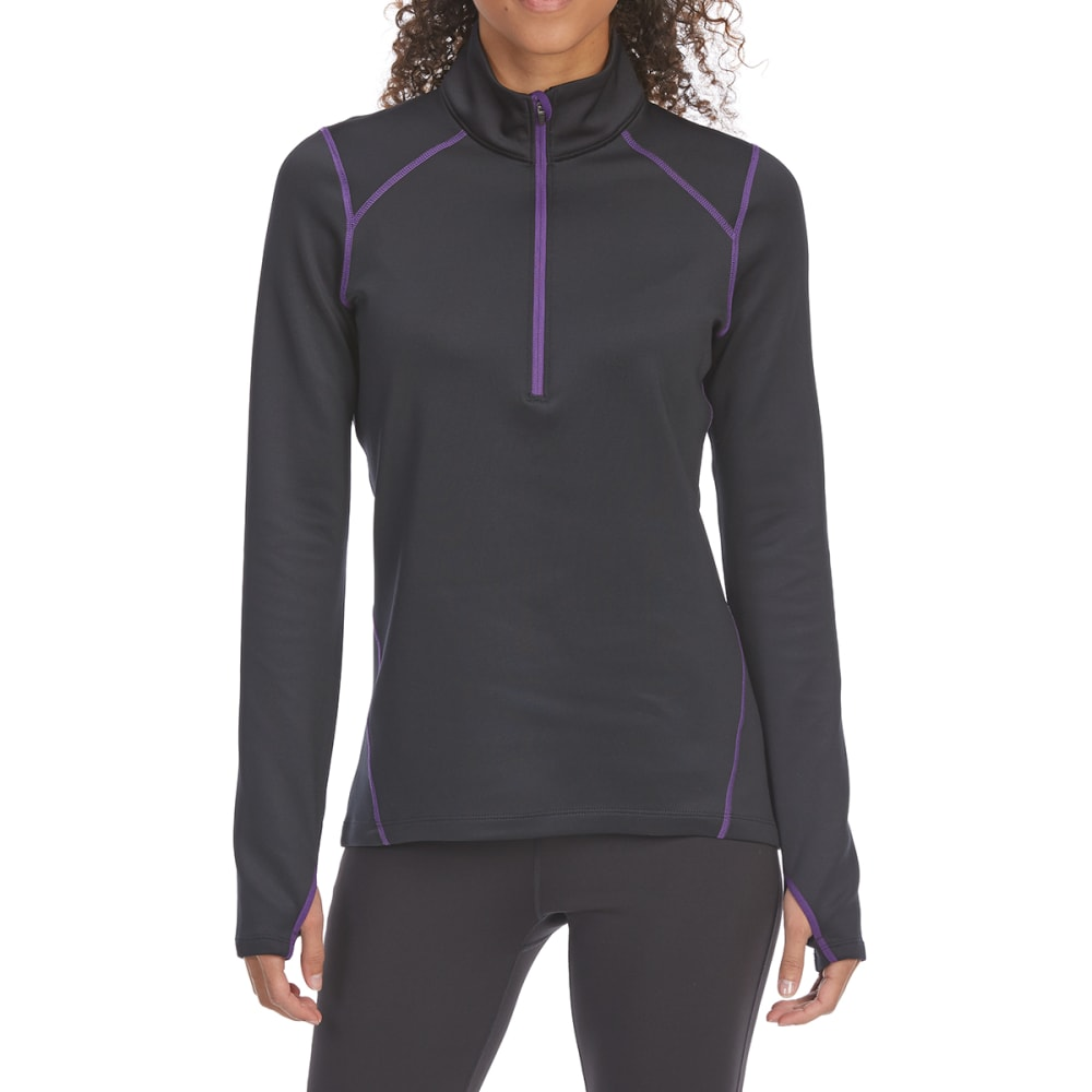 Ems Women's Techwick Heavyweight 1/4-Zip Base Layer Top - Black, S
