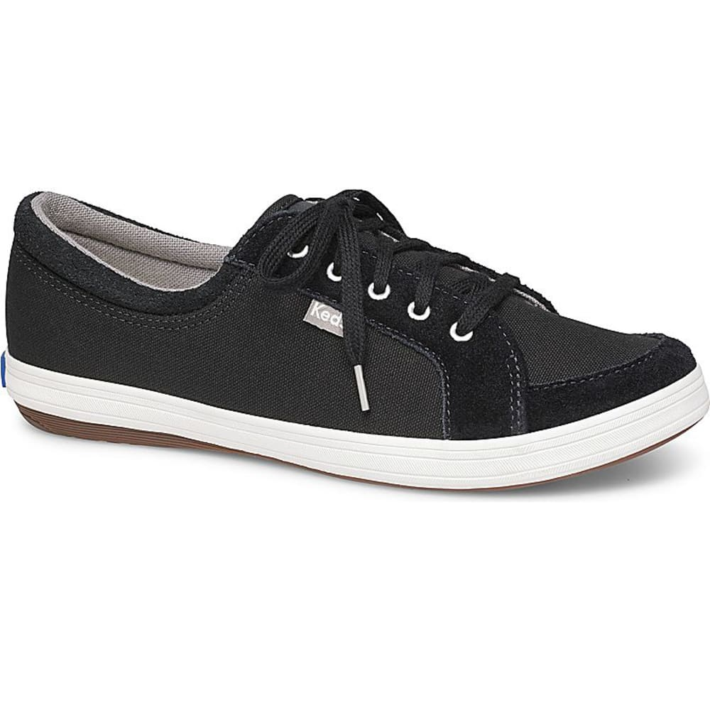 KEDS Women's Vollie II Canvas Perforated Suede Sneakers - BLACK