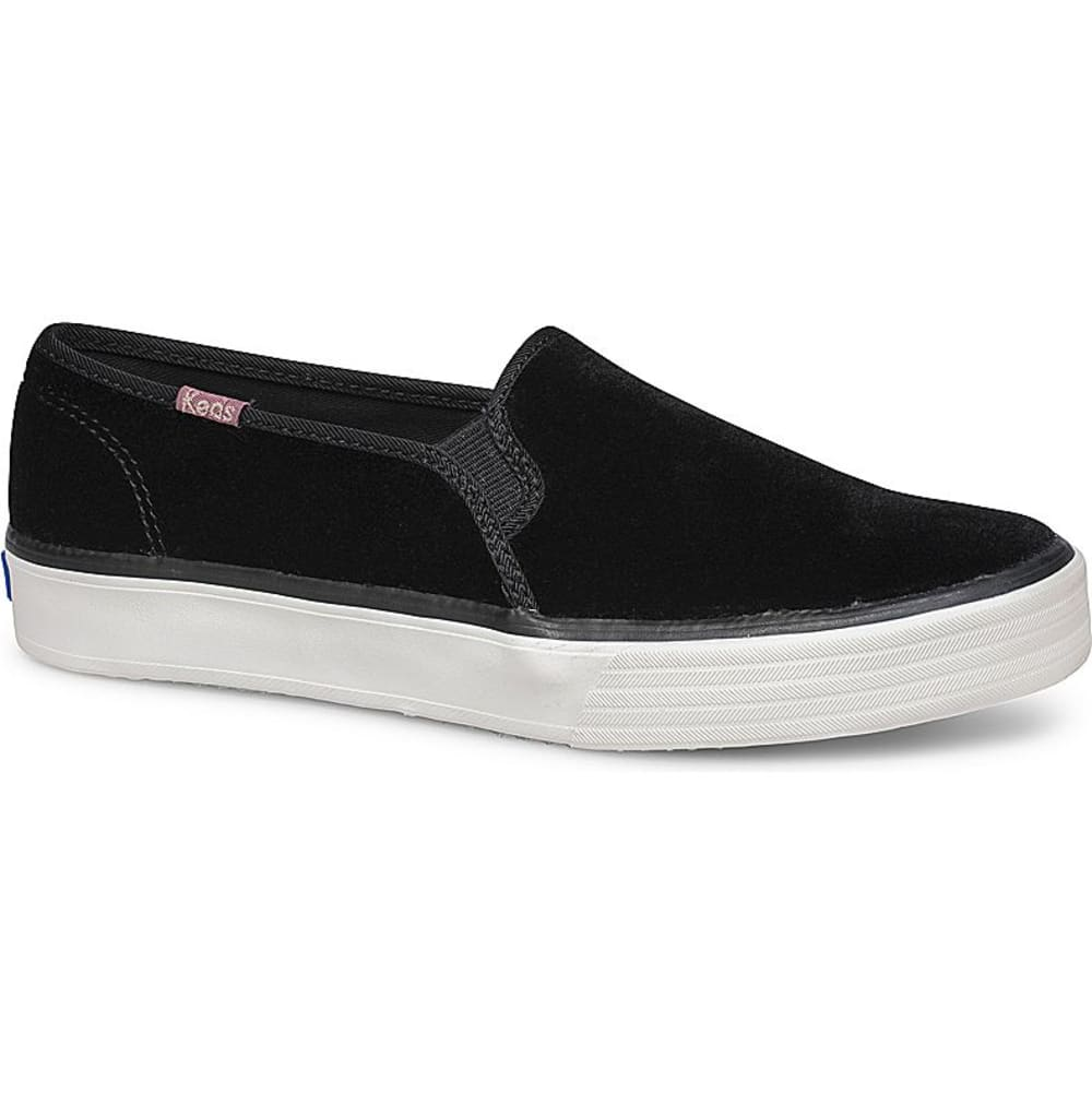 KEDS Women's Double Decker Velvet Casual Slip-On Shoes - BLACK-WF59064
