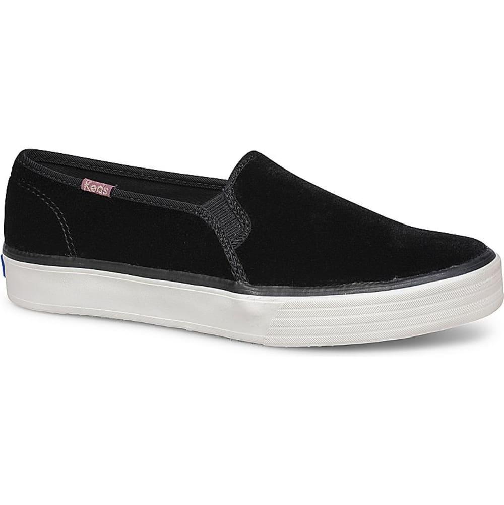 KEDS Women's Double Decker Velvet Casual Slip-On Shoes - BLACK-WF59064