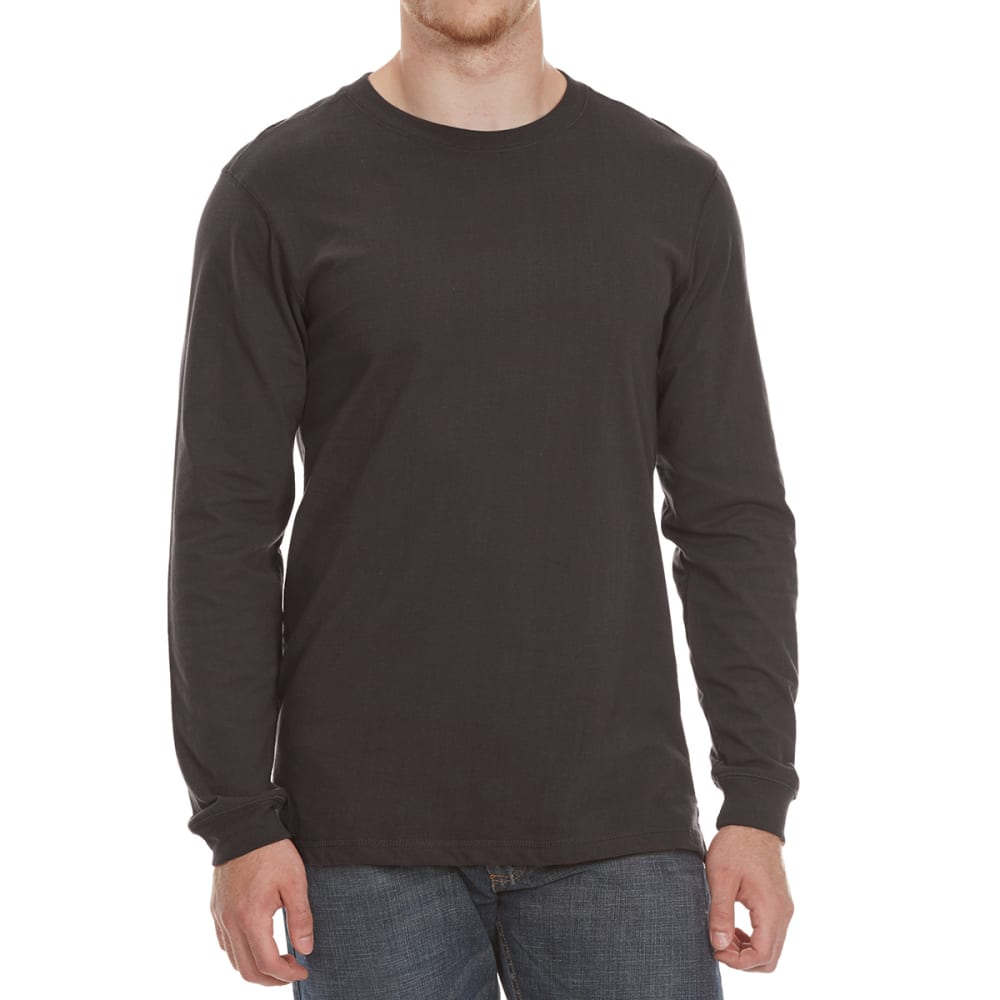 GELERT Men's Sueded Crew Long-Sleeve Tee - BLACK