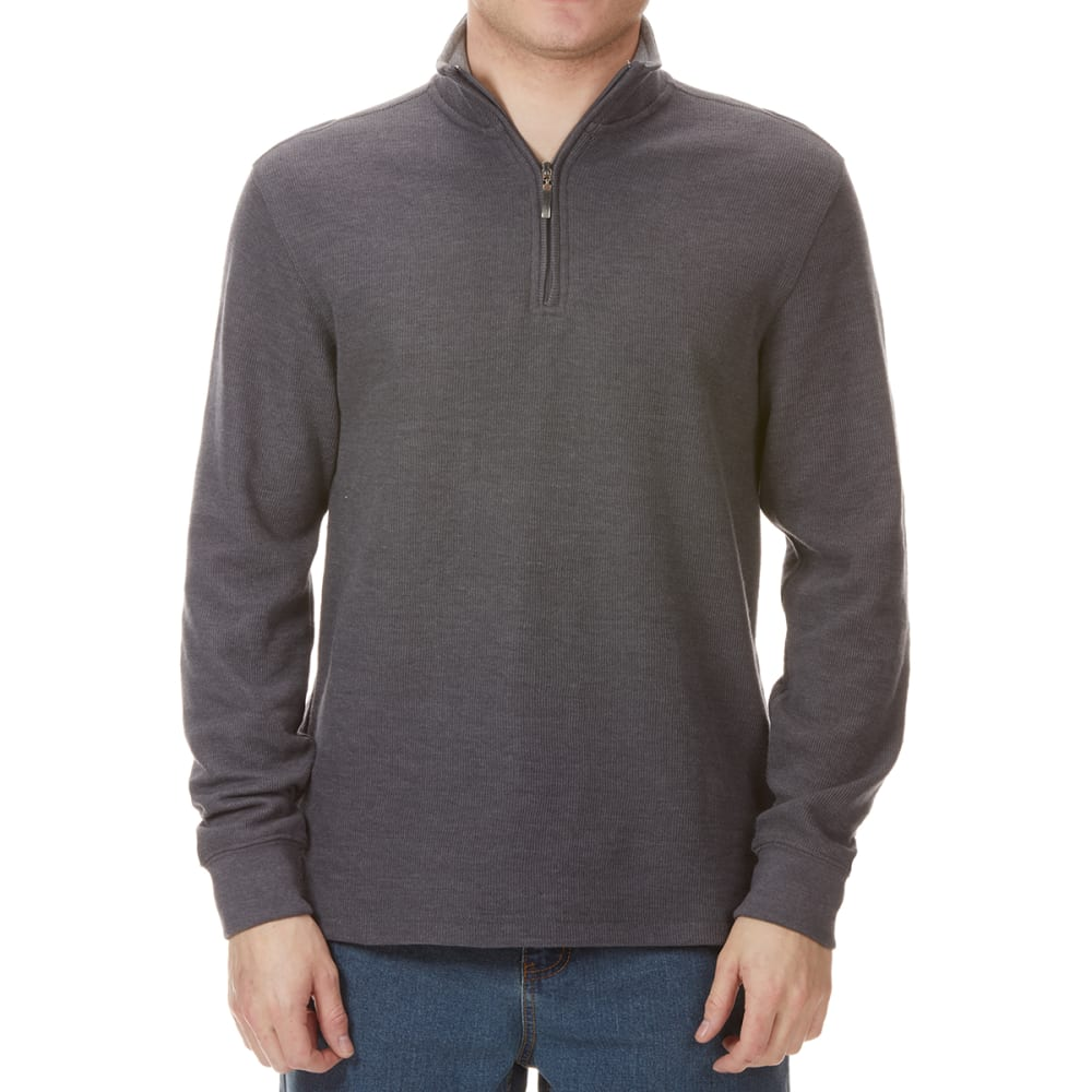 GELERT Men's French Rib ¼-Zip Knit Pullover - CHARCOAL
