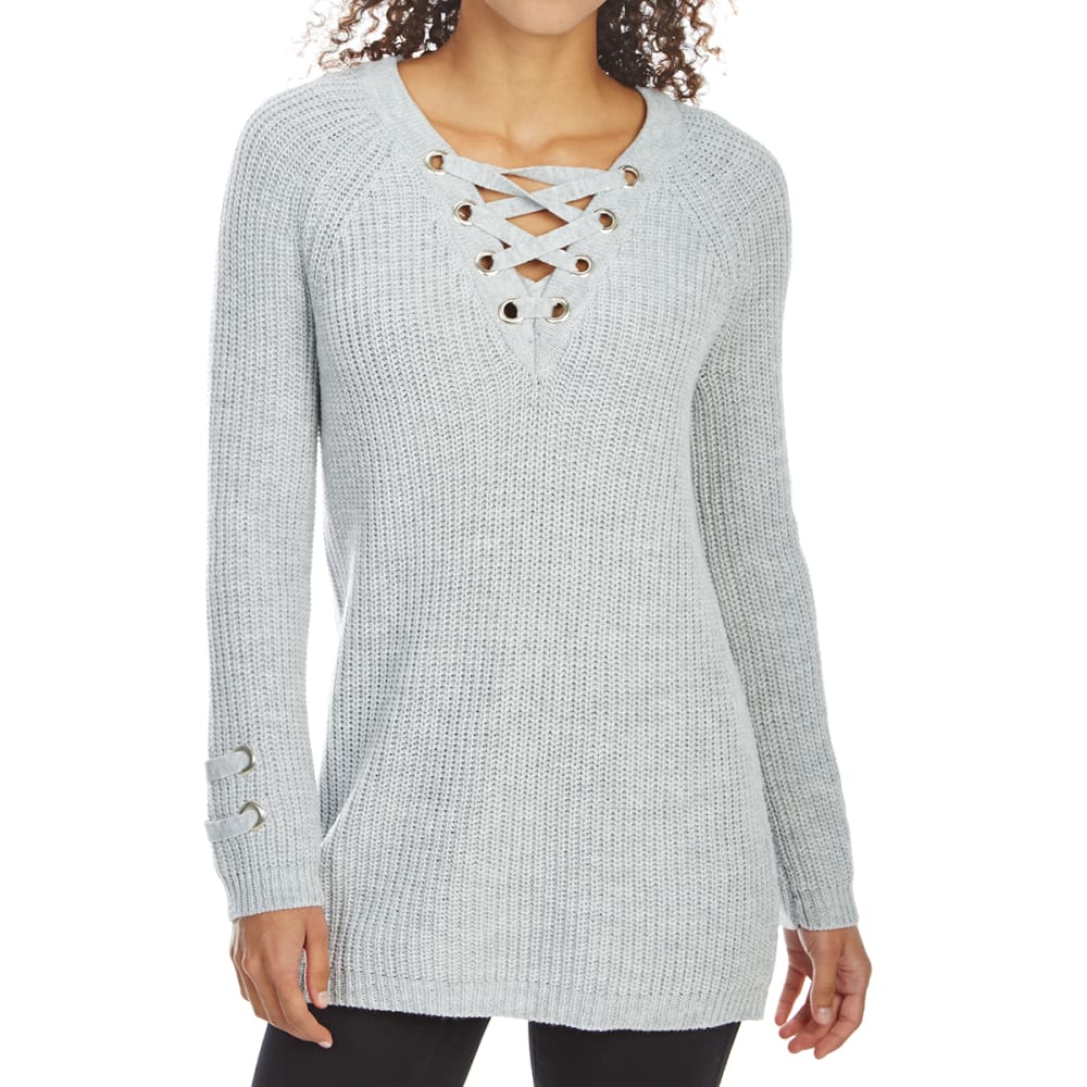 ABSOLUTELY FAMOUS Women's Lace-Up Grommet V-Neck Tunic Sweater - GREY HEATHER